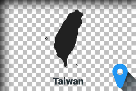Map of Taiwan, black map on a transparent background. alpha channel transparency simulation in png. vector illustration