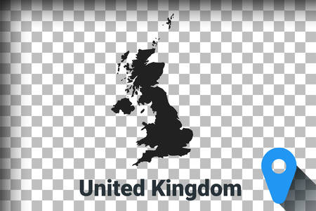 Map of United Kingdom, black map on a transparent background. alpha channel transparency simulation in png. vector illustration