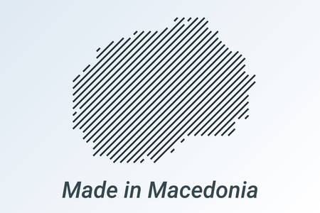 Made in Macedonia, striped map in a black strip on a silver background. vector illustration
