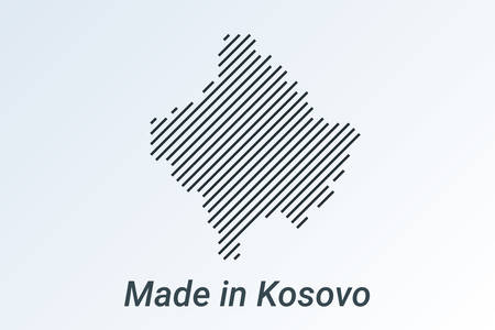 Made in Kosovo, striped map in a black strip on a silver background. vector illustration Ilustrace