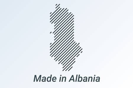 Made in Albania, striped map in a black strip on a silver background. vector illustration