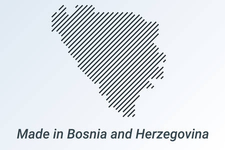 Made in Bosnia and Herzegovina, striped map in a black strip on a silver background. vector illustration
