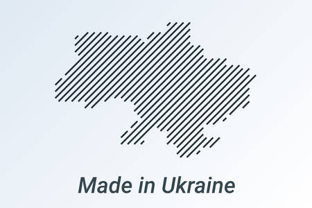 Made in Ukraine, striped map in a black strip on a silver background. vector illustration