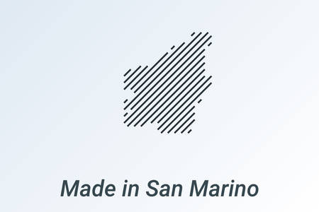 Made in San Marino, striped map in a black strip on a silver background. vector illustration