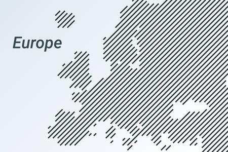 Europe striped map in a black strip on a silver background. vector illustration