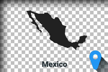 Map of Mexico, black map on a transparent background. alpha channel transparency simulation in png. vector illustration