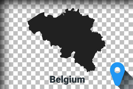 Map of Belgium, black map on a transparent background. alpha channel transparency simulation in png. vector illustration Ilustrace