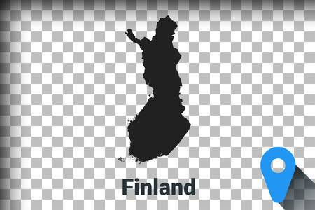 Map of Finland, black map on a transparent background. alpha channel transparency simulation in png. vector illustration Ilustrace