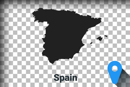 Map of Spain, black map on a transparent background. alpha channel transparency simulation in png. vector illustration