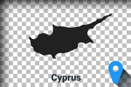 Map of Cyprus, black map on a transparent background. alpha channel transparency simulation in png. vector illustration