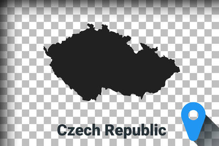 Map of Czech Republic, black map on a transparent background. alpha channel transparency simulation in png. vector illustration