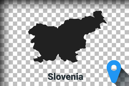 Map of Slovenia, black map on a transparent background. alpha channel transparency simulation in png. vector illustration Ilustrace