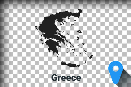 Map of Greece, black map on a transparent background. alpha channel transparency simulation in png. vector illustration