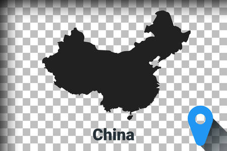 Map of China, black map on a transparent background. alpha channel transparency simulation in png. vector illustration