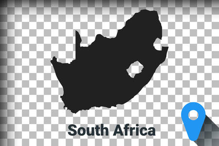Map of South Africa, black map on a transparent background. alpha channel transparency simulation in png. vector illustration Ilustrace