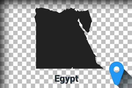 Map of Egypt, black map on a transparent background. alpha channel transparency simulation in png. vector illustration