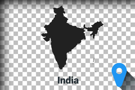 Map of India, black map on a transparent background. alpha channel transparency simulation in png. vector illustration