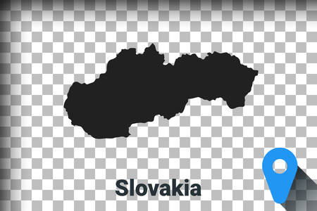 Map of Slovakia, black map on a transparent background. alpha channel transparency simulation in png. vector illustration