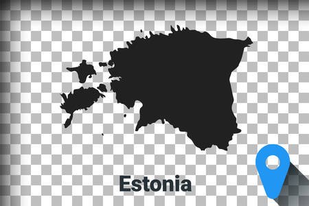 Map of Estonia, black map on a transparent background. alpha channel transparency simulation in png. vector illustration