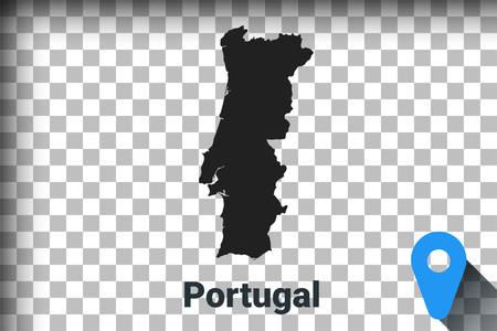 Map of Portugal, black map on a transparent background. alpha channel transparency simulation in png. vector illustration Illustration