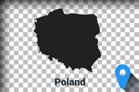 Map of Poland, black map on a transparent background. alpha channel transparency simulation in png. vector illustration