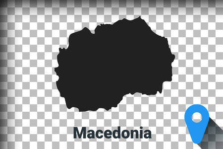 Map of Macedonia, black map on a transparent background. alpha channel transparency simulation in png. vector illustration