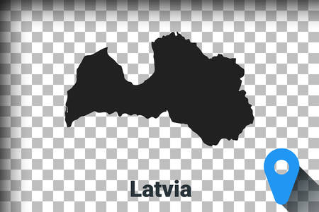 Map of Latvia, black map on a transparent background. alpha channel transparency simulation in png. vector illustration