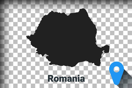 Map of Romania, black map on a transparent background. alpha channel transparency simulation in png. vector illustration