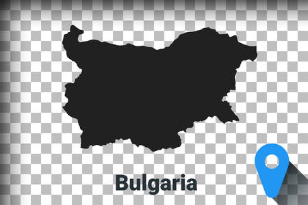 Map of Bulgaria, black map on a transparent background. alpha channel transparency simulation in png. vector illustration