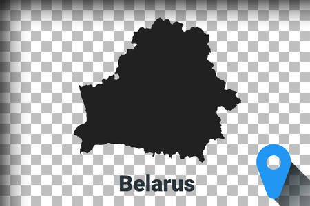Map of Belarus, black map on a transparent background. alpha channel transparency simulation in png. vector illustration