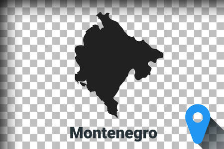 Map of Montenegro, black map on a transparent background. alpha channel transparency simulation in png. vector illustration