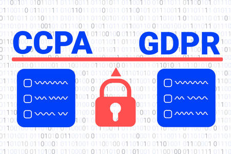 comparison of the CCPA and the GDPR. CCPA - California Consumer Privacy Act. vector background. USA data security. Consumer protection for residents of California, United States Illusztráció