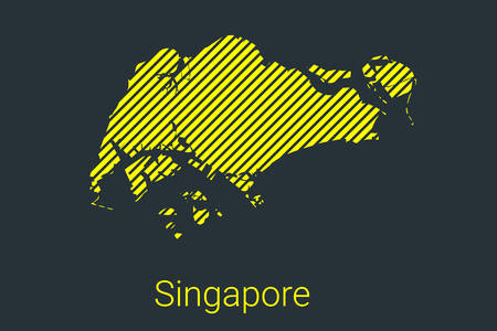 Map of Singapore, striped map in a black strip on a yellow background for coronavirus infographics and quarantine area markers and restrictions. vector Illusztráció