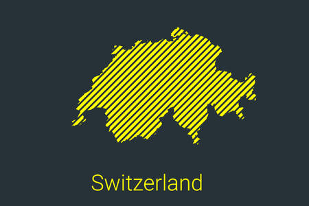 Map of Switzerland, striped map in a black strip on a yellow background for coronavirus infographics and quarantine area markers and restrictions. vector