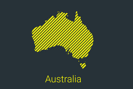 Map of Australia, striped map in a black strip on a yellow background for coronavirus infographics and quarantine area markers and restrictions. vector Illusztráció