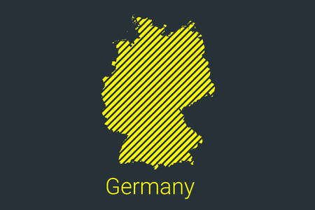 Map of Germany, striped map in a black strip on a yellow background for coronavirus infographics and quarantine area markers and restrictions. vector Illusztráció