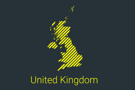 Map of United Kingdom, striped map in a black strip on a yellow background for coronavirus infographics and quarantine area markers and restrictions. vector