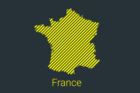 Map of France, striped map in a black strip on a yellow background for coronavirus infographics and quarantine area markers and restrictions. vector