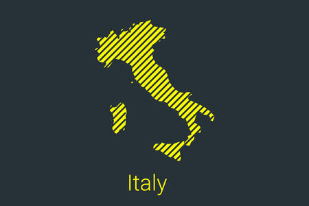Map of Italy, striped map in a black strip on a yellow background for coronavirus infographics and quarantine area markers and restrictions. vector illustration
