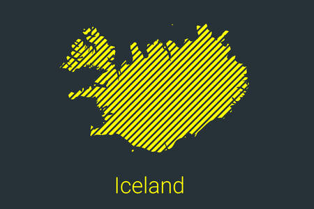 Map of Iceland, striped map in a black strip on a yellow background for coronavirus infographics and quarantine area markers and restrictions. vector