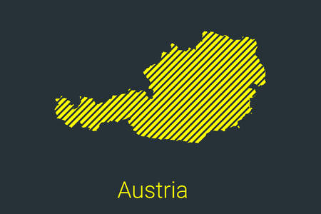 Map of Austria, striped map in a black strip on a yellow background for coronavirus infographics and quarantine area markers and restrictions. vector