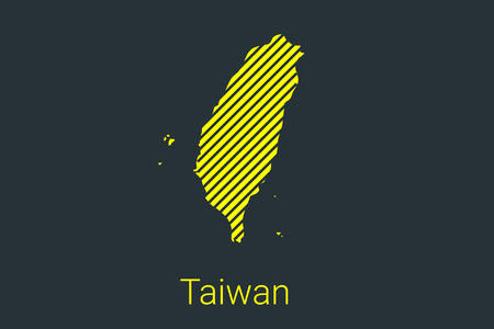 Map of Taiwan, striped map in a black strip on a yellow background