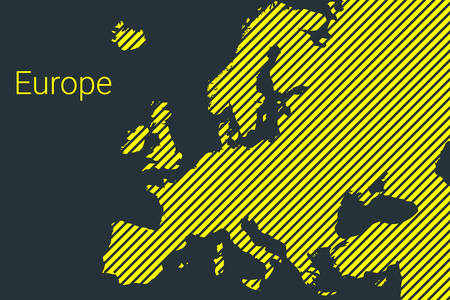 Map of Europe, striped map in a black strip on a yellow background for coronavirus infographics and quarantine area markers and restrictions. vector