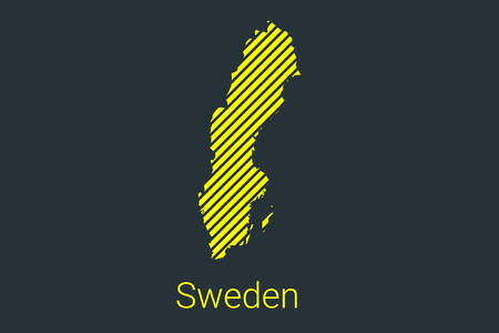 Map of Sweden, striped map in a black strip on a yellow background for coronavirus infographics and quarantine area markers and restrictions. vector Illusztráció