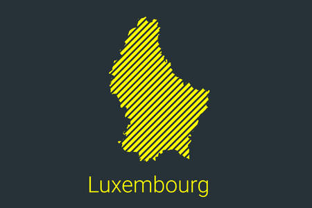 Map of Luxembourg, striped map in a black strip on a yellow background for coronavirus infographics and quarantine area markers and restrictions. vector Illusztráció