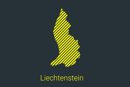 Map of Liechtenstein, striped map in a black strip on a yellow background for coronavirus infographics and quarantine area markers and restrictions. vector