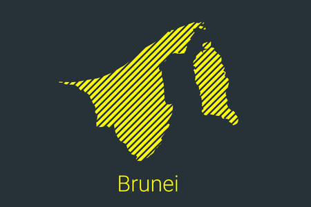 Map of Brunei, striped map in a black strip on a yellow background for coronavirus infographics and quarantine area markers and restrictions. vector Illusztráció