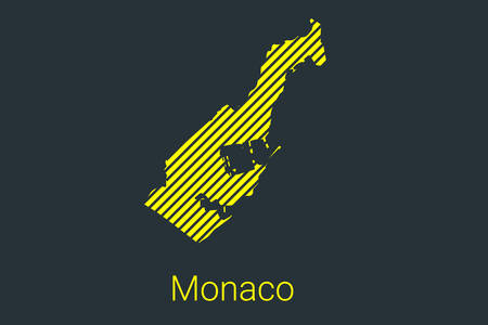 Map of Monaco, striped map in a black strip on a yellow background for coronavirus infographics and quarantine area markers and restrictions. vector