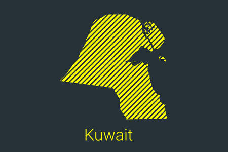 Map of Kuwait, striped map in a black strip on a yellow background for coronavirus infographics and quarantine area markers and restrictions. vector Illusztráció