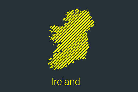 Map of Ireland, striped map in a black strip on a yellow background for coronavirus infographics and quarantine area markers and restrictions. vector